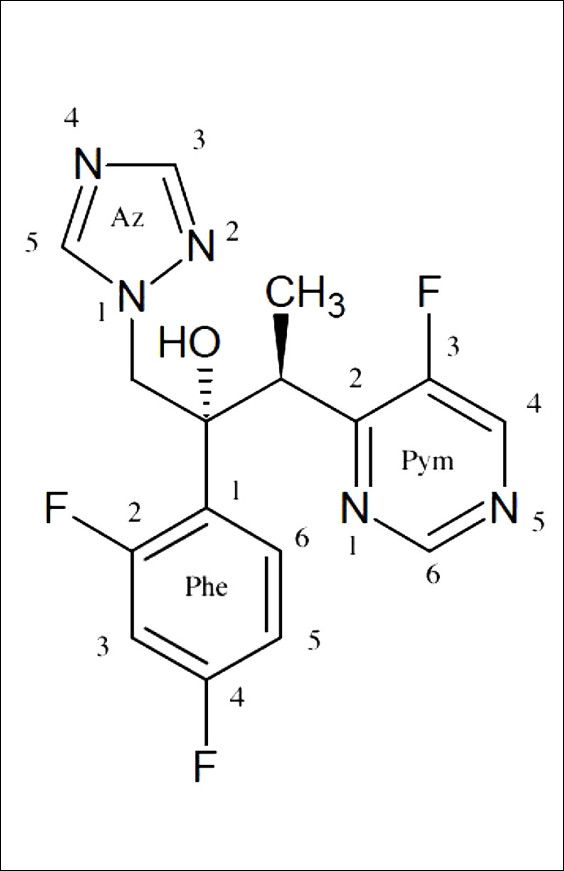 Figure 1. Structure of the anti-fungal voriconazole with a simplified numbering system.